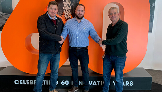 Jason Prisley (left) and Claudio Checchia (right) of 2 Cousins Powered Access at the Snorkel's Vigo Centre facility in early 2020 with Scott Holtby of Snorkel UK (centre)